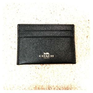 Coach cross grain leather flat card case